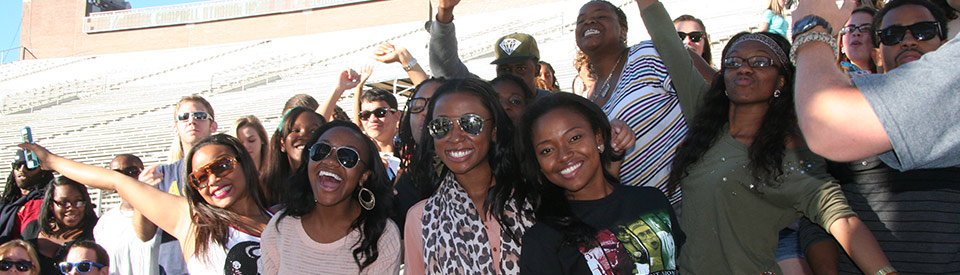Students at Doak Campbell Stadium for a concert