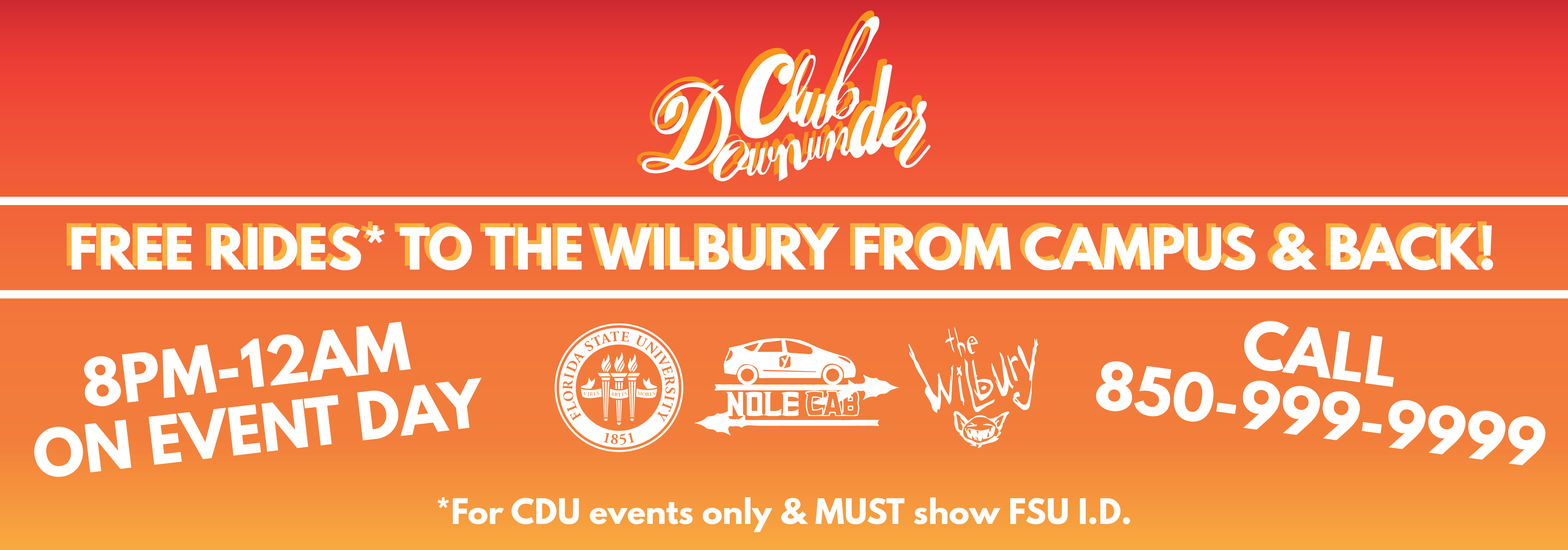 free rides to and from the wilbury call 8509999999