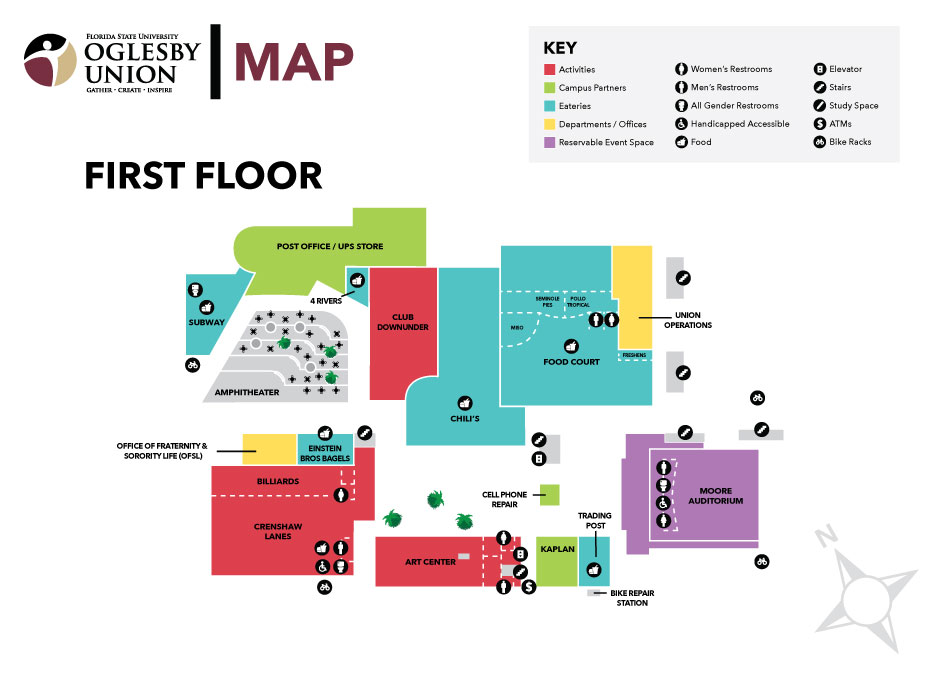 Graphic of the first floor layout of Oglesby Union