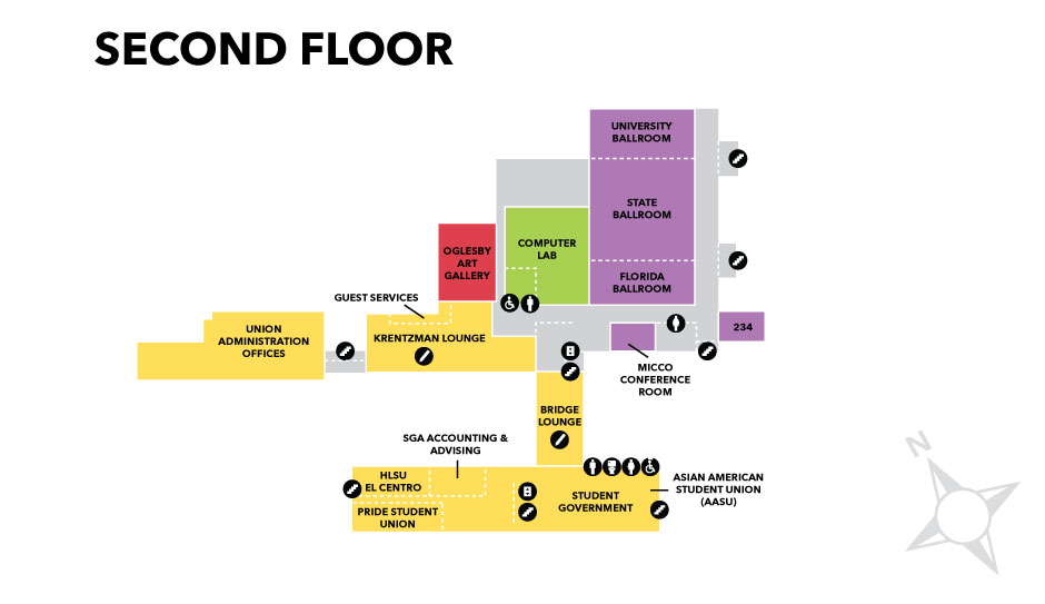 Graphic of second floor layout of Oglesby Union