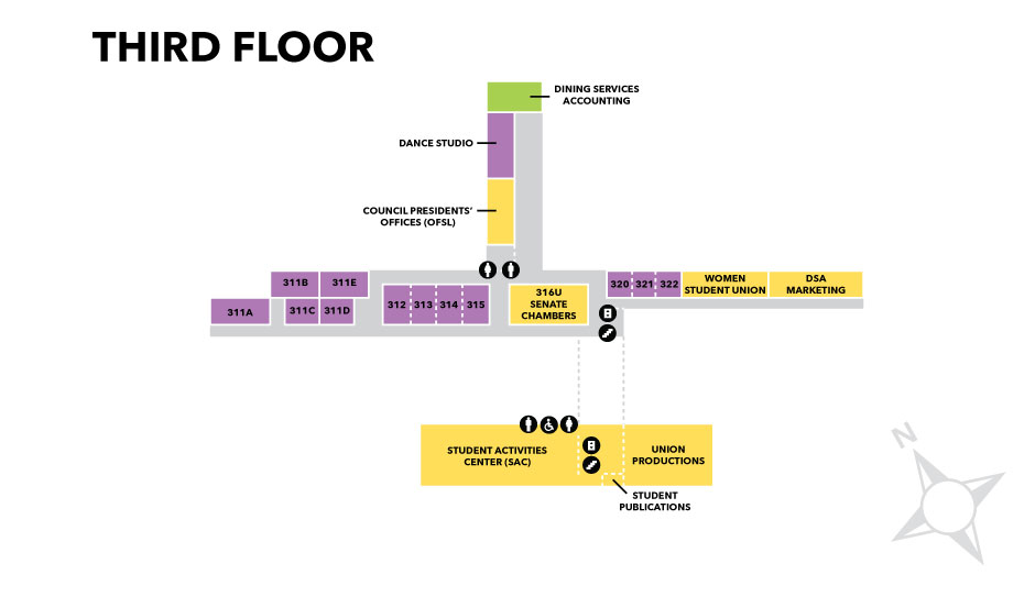 Graphic of the third floor layout of Oglesby Union