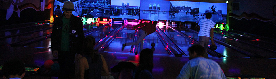 Photo of students bowling during cosmic bowling