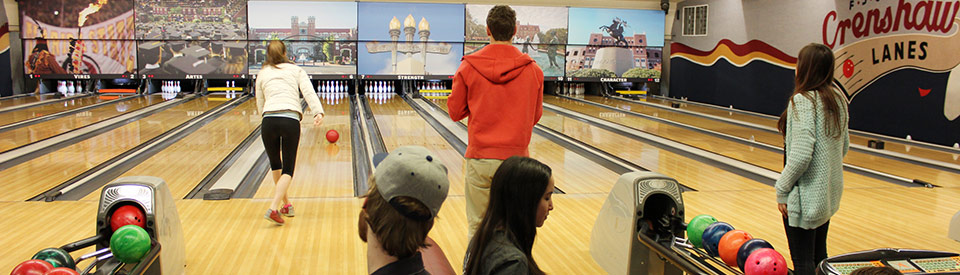 Photo of students bowling