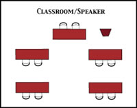 classroom/speaker room configuration diagram