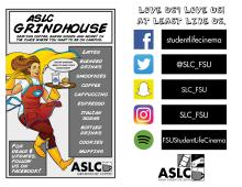 ASLC Grindhouse Cafe Ad and Follow Us on Social Media